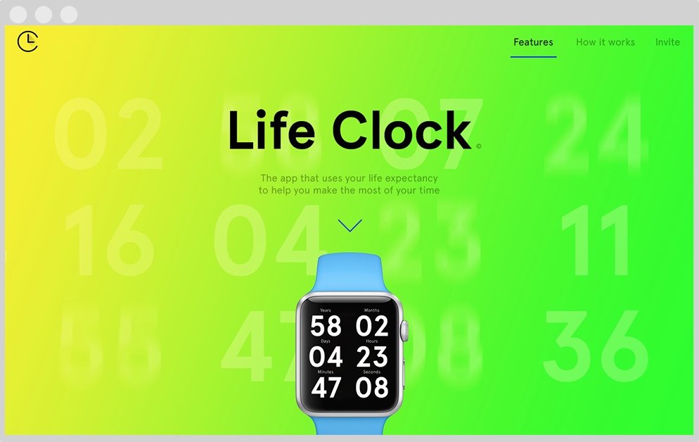 Life clock app para apple watch